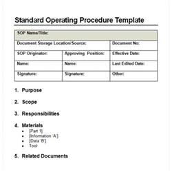 Template Of Sop by 9 Standard Operating Procedure Sop Templates Word