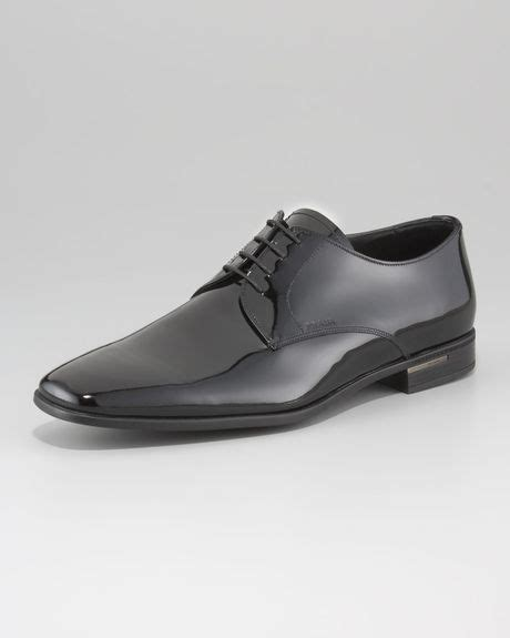 prada patent leather laceup shoe in black for lyst