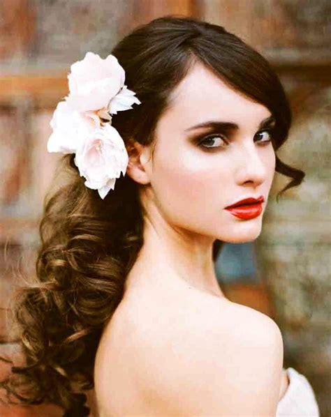 wedding hair thats down bride s side swept long curl down bridal hair ideas toni