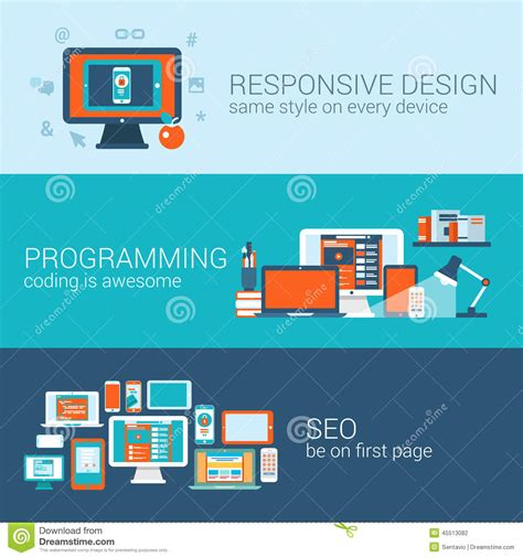 banner design using css web design programming seo concept flat template set