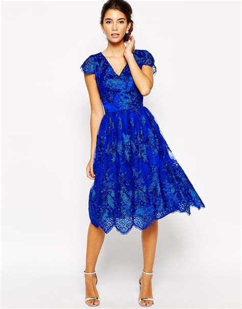 lyst chi chi wrap front midi prom dress in premium metallic lace in blue