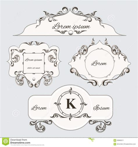 the images collection of vector round label victorian round vintage set of vintage ornament frame and labels stock vector