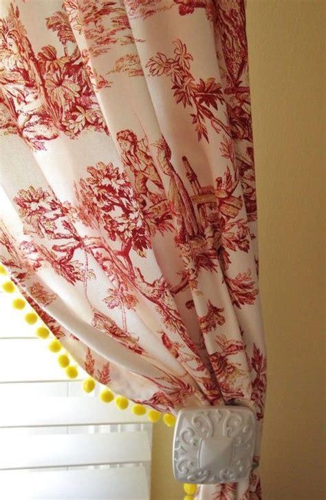 Curtains With Pom Poms Decor Toile Curtains With Yellow Pom Pom Fringe Colors Toile Curtains And The O Jays