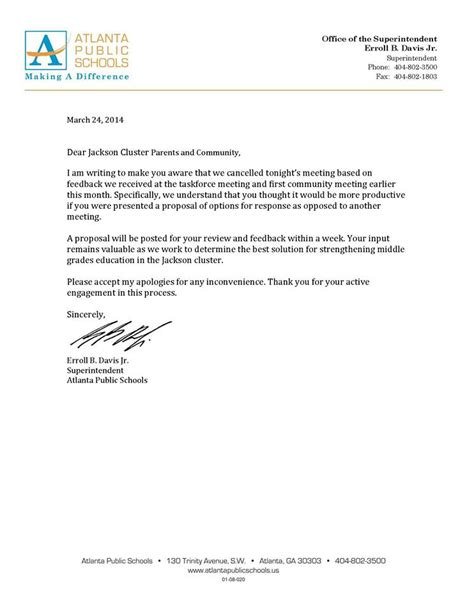 Apology Letter Postpone Meeting jackson cluster middle grades education letters and
