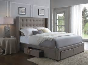 Tufted Bed Frame With Storage Wingback Storage Bed Frame Furniture Tufted Leather