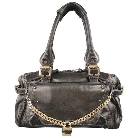 Paddington Capsule Shoulder Bag by Charcoal Leather Paddington Capsule Padlock Chain