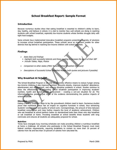report template format form report writing format