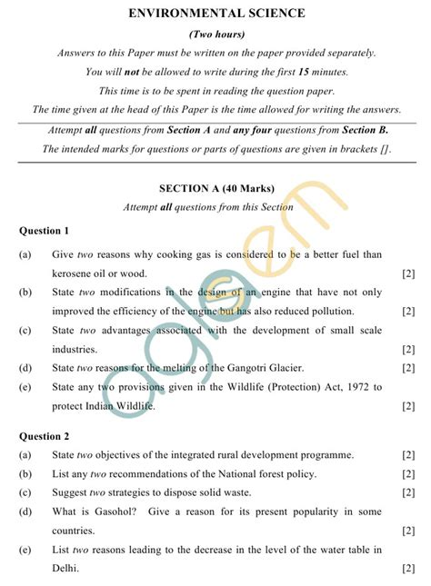 Essay On Science And Future For Class 10 by Icse Class 10 Sle Paper 2019 2018 2017 Environmental Science Aglasem Schools