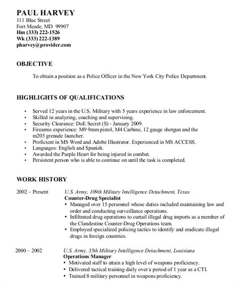 military resume template military resume 8 free word pdf