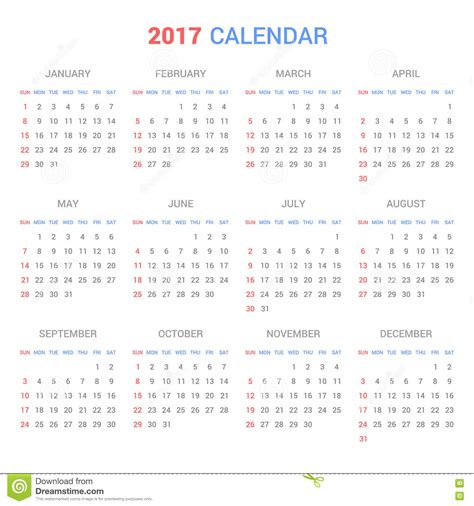 vector calendar template calendar template for 2017 on white background vector
