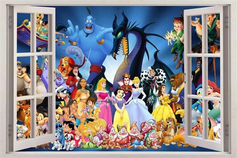 disney characters wall stickers disney characters princess 3d window view decal wall