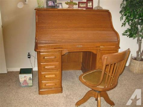 Roll Top Desk For Sale by American Oak Roll Top Desk And Chair For Sale In Cypress