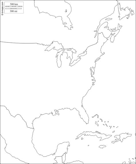 blank map of eastern united states and canada blank map of eastern america