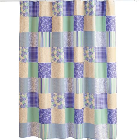 Floral And Striped Patchwork Shower Curtain By