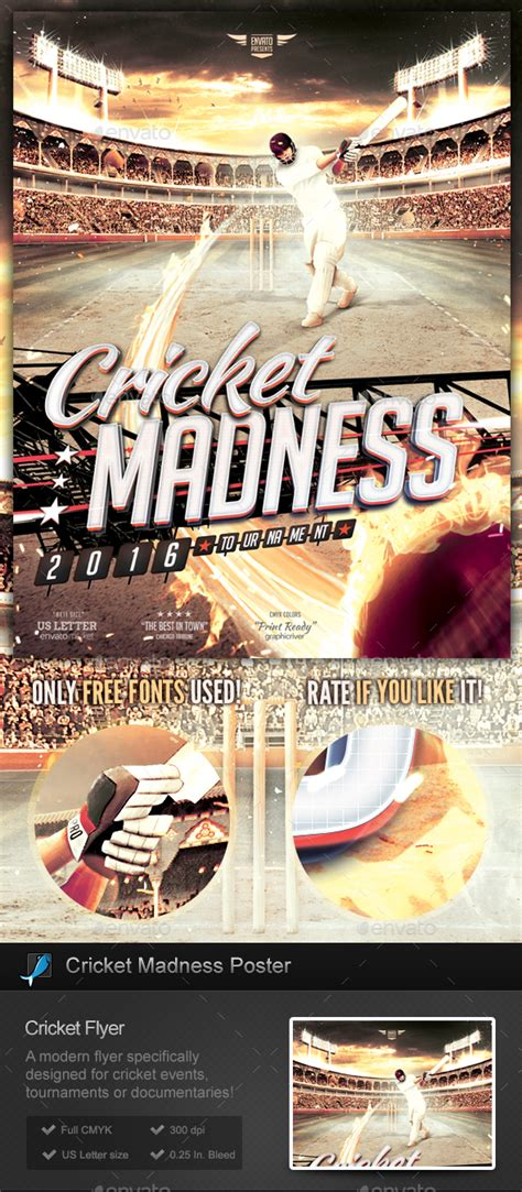 Cricket Madness Flyer Template By Stormdesigns Graphicriver Madness Flyer Template