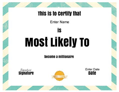 superlative certificate template free customizable quot most likely to awards quot