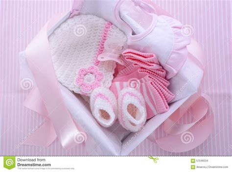 baby girl themes not pink its a girl pink theme baby shower gift box stock photo