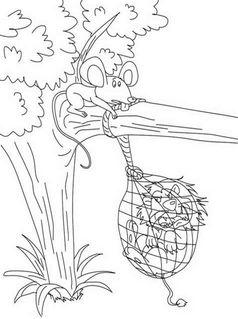 kids page lion and the mouse story coloring pages 2