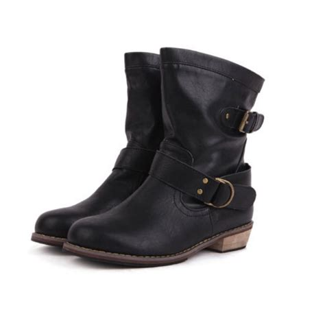 buckle motorcycle boots flat heel vintage buckle ankle motorcycle boots gonchas
