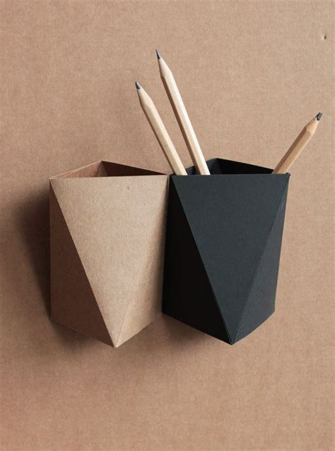 Origami Pencil Holder - 3box origami paper box desk pen holder by