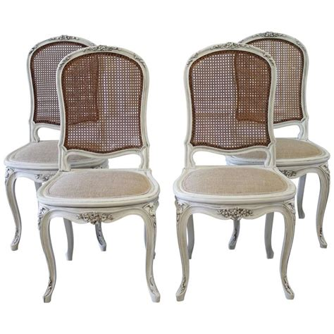 Painted Dining Chair Set Of Four Louis Xv Style Painted Back Dining Chairs At 1stdibs