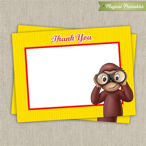 Curious George Birthday Card Curious George Blank Birthday Thank You Cards