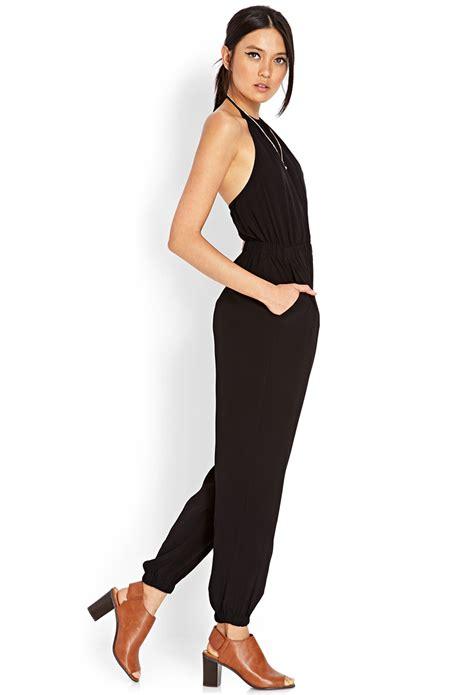 Jumpsuit Forever21 lyst forever 21 halter harem jumpsuit in black