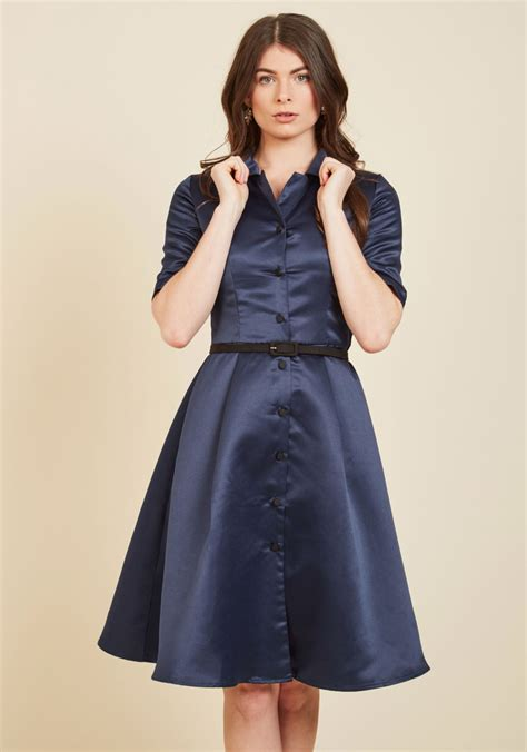 Dress Import 7759 Blue respectfully retro midi dress in navy mod retro vintage dresses modcloth