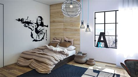 industrial bedroom pinterest banksy room boy design interior by nataly yanson