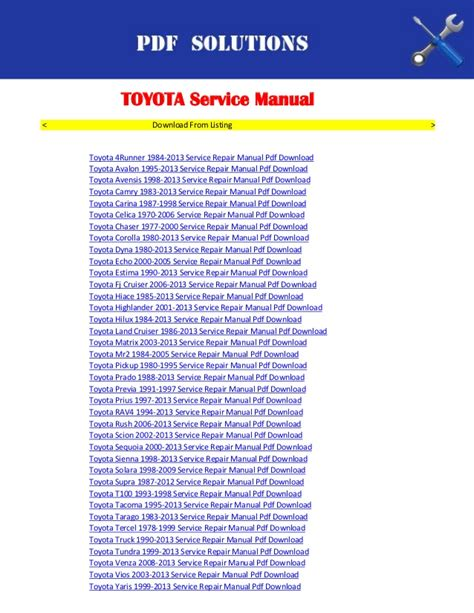 free online car repair manuals download 1996 toyota paseo security system toyota yaris workshop manual free download