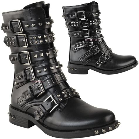 ladies ankle biker boots womens ladies studded ankle boots buckle western biker