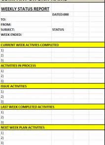Weekly Status Report Template by Weekly Status Report Template Excel Word Templates