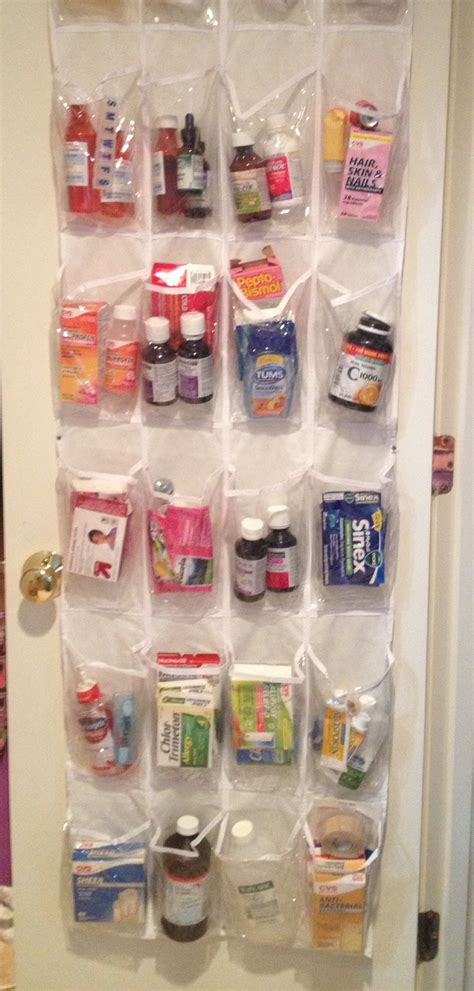 over the door medicine cabinet use a clear over the door shoe organizer as your medicine