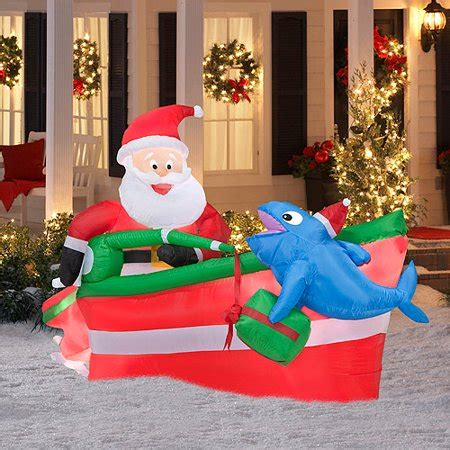 inflatable santa in boat 4 x 6 animated airblown sant walmart