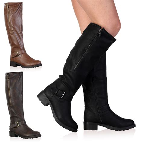 new faux leather knee high womens winter flat