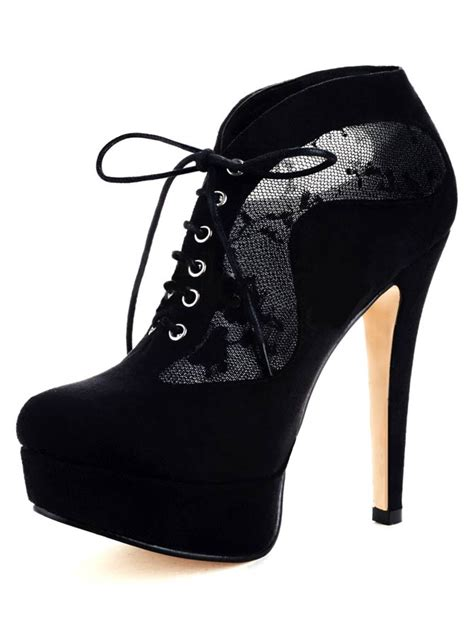 black lace up high heel booties black lace up sheepskin suede high heel booties for