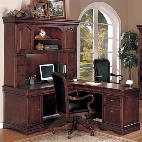 flexsteel rue de lyon computer l shaped desk with hutch