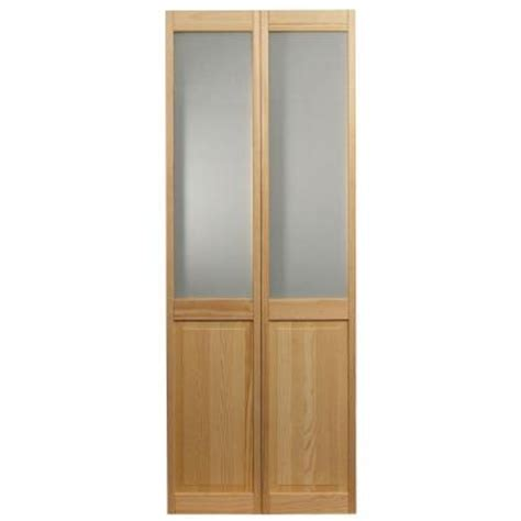frosted interior doors home depot pinecroft 32 in x 80 in frosted glass raised panel pine interior bi fold door 875928