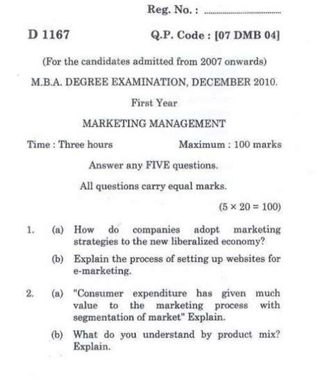 4 Year Universities Mba by Bharathiar Mba I Year Question Papers