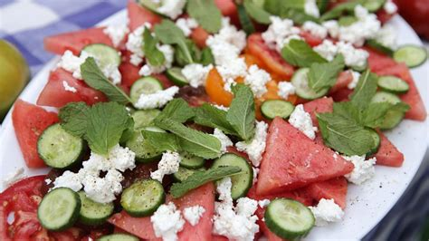 tyler florence salad watermelon tomato salad with feta and mint tyler