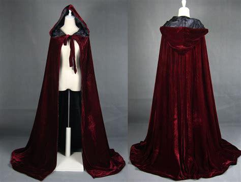 design a cape wine black velvet hooded cloak medieval cape witchcraft