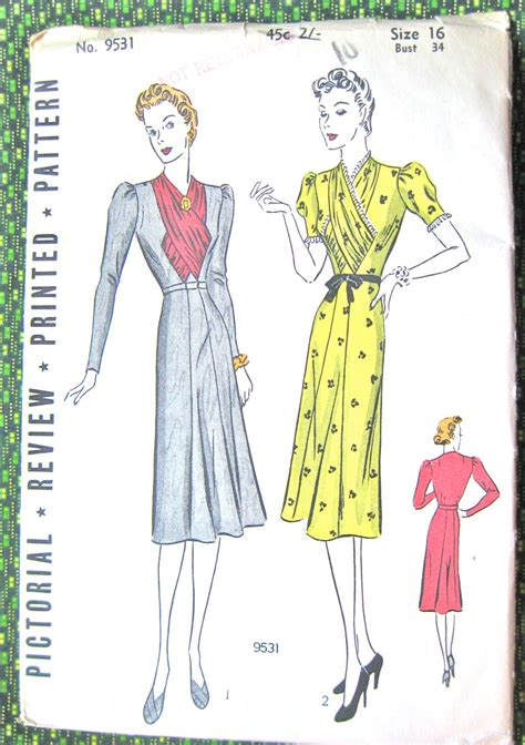 pattern etsy review uncut 1930s pictorial review printed pattern 9531 vintage
