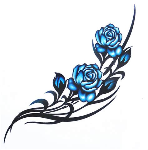 the gallery for gt blue rose chest tattoos for women
