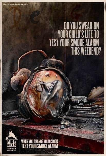burned clock ads uk government fire kills