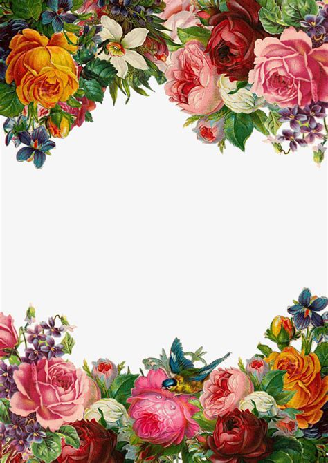 design flower nice beautiful flowers border flowers frame nice png image