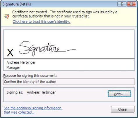 electronic signature template using digital signatures