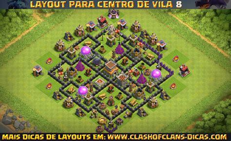 layout push cv 8 layouts de centro de vila 8 para clash of clans clash of