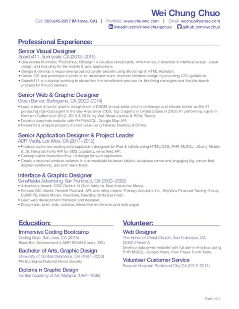 front end developer resume wei chung chuo front end developer resume
