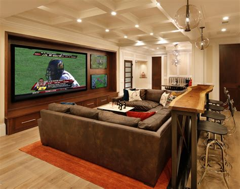 family room home theater  bar traditional home