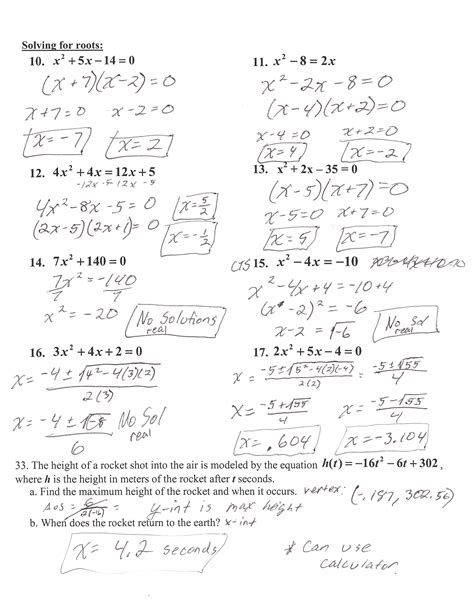 Solving Quadratic Equations Worksheet With Answers